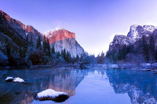 Lake, Water, Snow, Winter, Cold, Rocks, Mountain