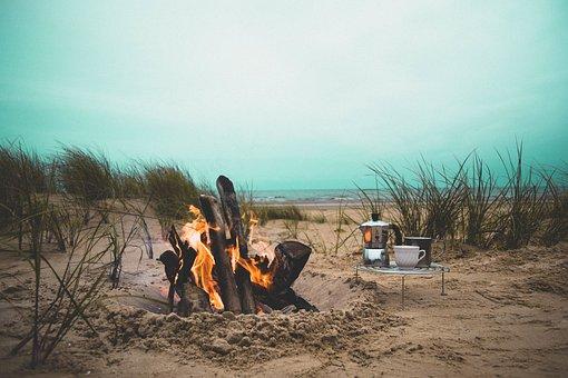 Fire, Flame, Bonfire, Campfire, Beach, Heat, Firewood