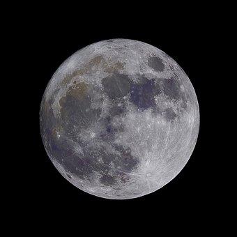 Full, Super, Moon, Round, Black And White, Dark, Night