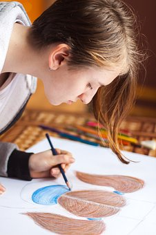 People, Girl, Drawing, Color, Pencil, Art, Artist, Blur