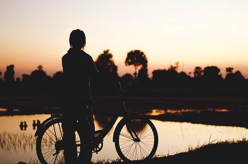 People, Man, Alone, Bike, Bicycle, Dark, Sunset, Sky