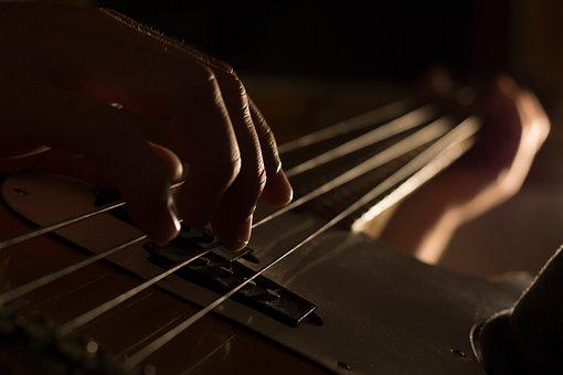 Guitar, String, Hand, Musical, Instrument, Dark