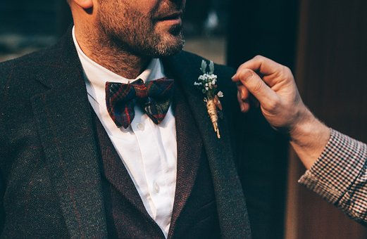 Suit, Tie, Flower, Clothing, Hand, Male, Man, Beard