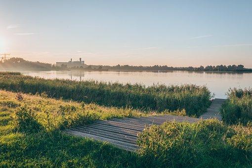 Sunrise, Morning, Green, Grass, Outdoor, Nature, Lake