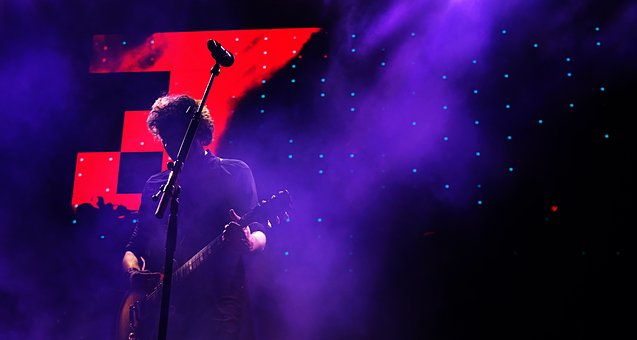 Dark, Night, Microphone, Stand, People, Man, Guy