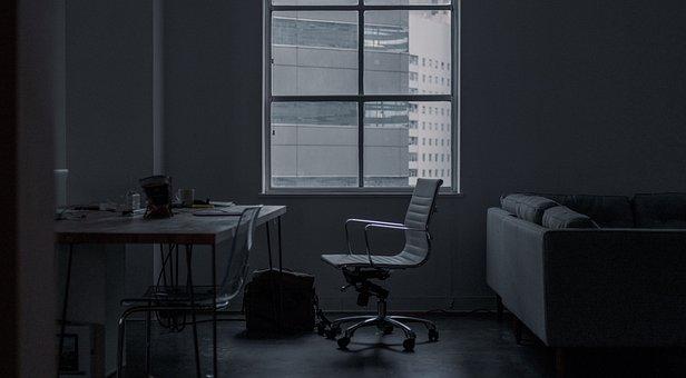 Building, Black And White, Office, Room, Work, Desk