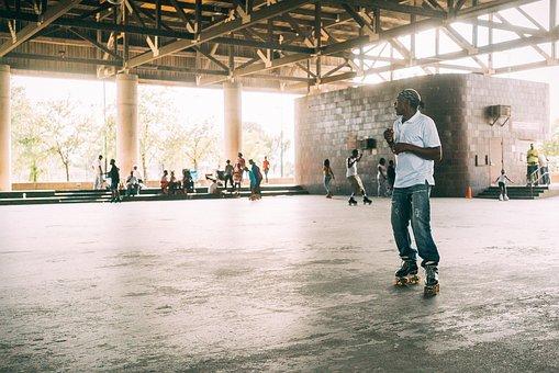 Roller, Skating, Sport, Floor, People, Men, Crowd
