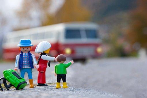 Toy, Family, Parents, Children, Bus, Travel, Adventure