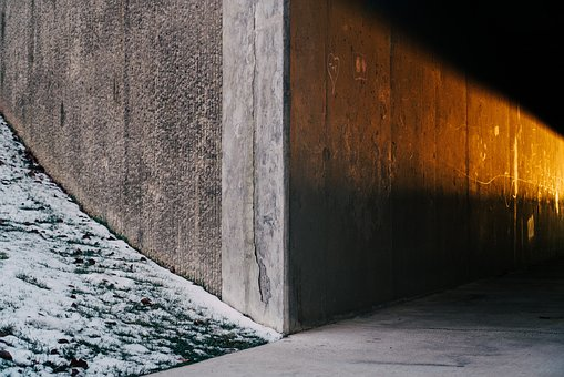 Wall, Tunnel, Sunlight, Shadow, Grass, Snow, Dark
