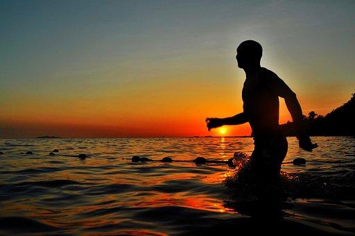 Sea, Ocean, Water, Wave, Nature, Silhouette, People