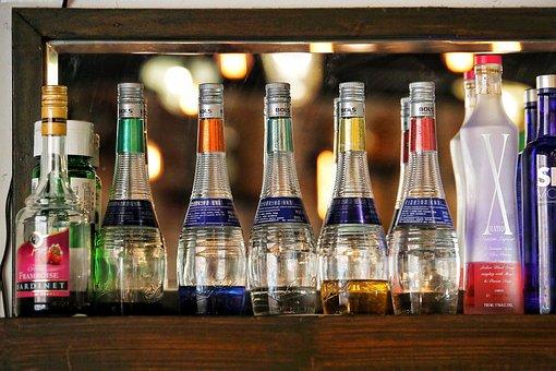 Bottle, Beverage, Drink, Display, Bar, Blur