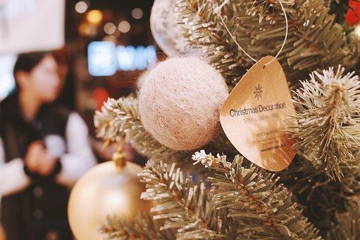 Christmas, Tree, Ball, Tag, Ornament, Decor, Holiday