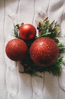 Red, Christmas Ball, Decoration