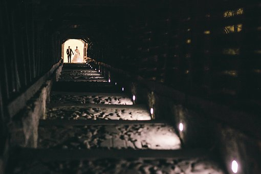 Dark, Night, Building, Stairs, Lights, People, Couple