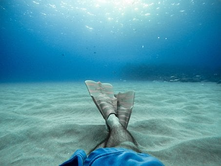 Sea, Ocean, Blue, Water, Nature, Leg, Foot, Diving