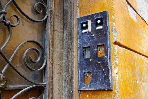 Door, Home, Wall, Input, Building, Wood, Old, Bell