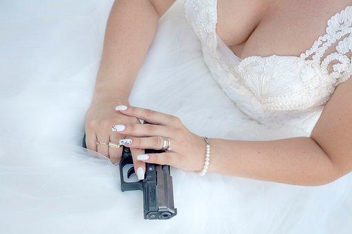 Gun, Hand, Ring, Bracelet, Suicide, Wedding, Gown