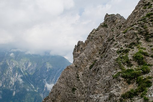Rock, Height, Mountain Climbers, Hiking, Sky, Clouds