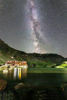 Dark, Sky, Stars, Galaxy, Mountain, Landscape, Nature
