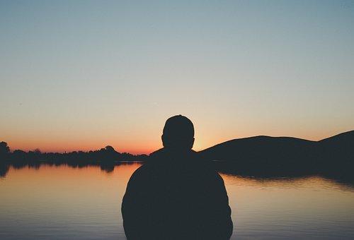 People, Man, Alone, Thinking, Lake, Water, Dark