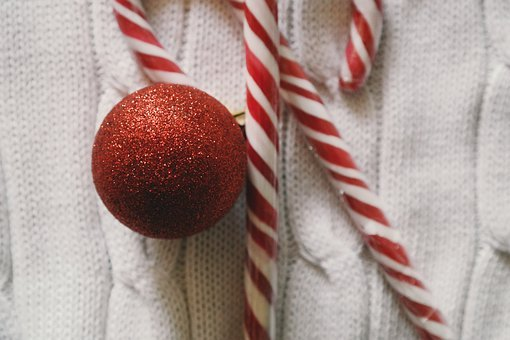 Christmas, Day, Red, Ball, Polkagris, Candy, Cane