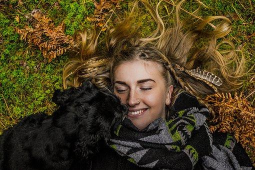 Green, Grass, Lawn, Black, Puppy, Dog, Pet, People