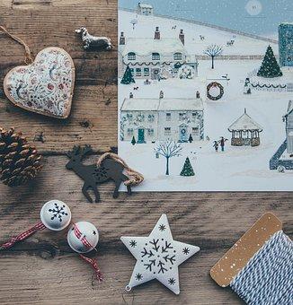 Christmas, Season, Star, Ball, Deer, Pine, Cone, Poster