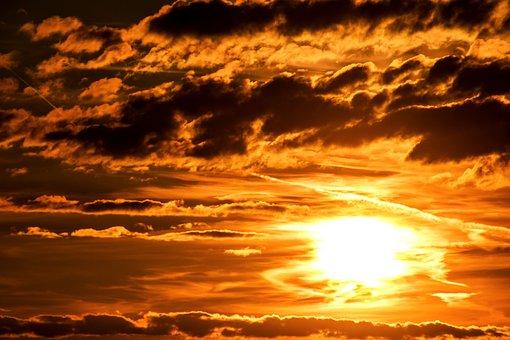 Sunset, Sun, Setting Sun, Evening Sky, Abendstimmung