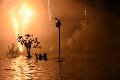 Theater, Water, Street Theatre, Performance, Fireworks