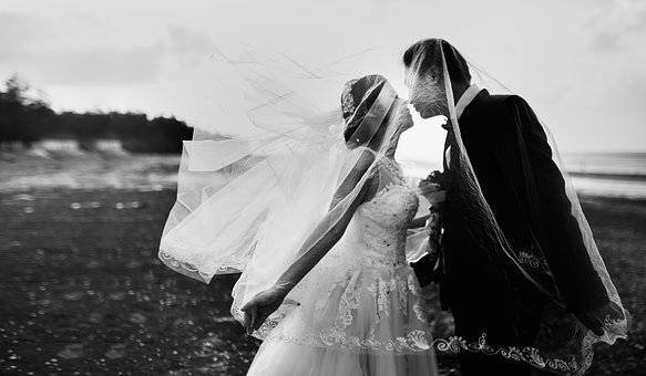 Black And White, People, Man, Woman, Wedding, Gown