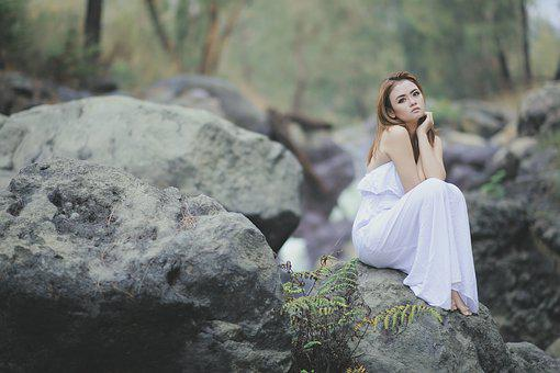 Blushing, The Rocks, Forest, White Dress, Green Leaves