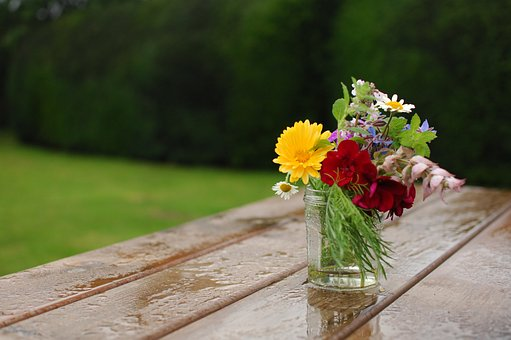Wooden, Table, Water, Rain, Colorful, Flowers, Vase