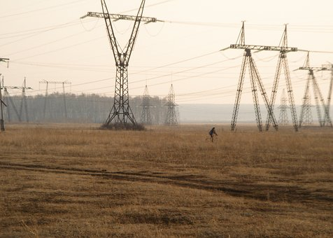 Transmission, Line, Electricity, Field, Farm, Grass