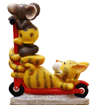 Figures, Mouse, Cat, Roller, Funny, Cute, Fun, Isolated