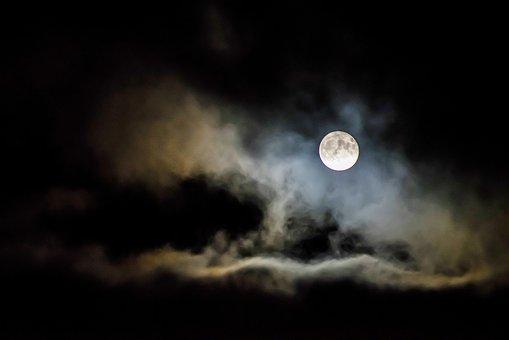 Dark, Night, Sky, Cloud, Full, Moon, Bright