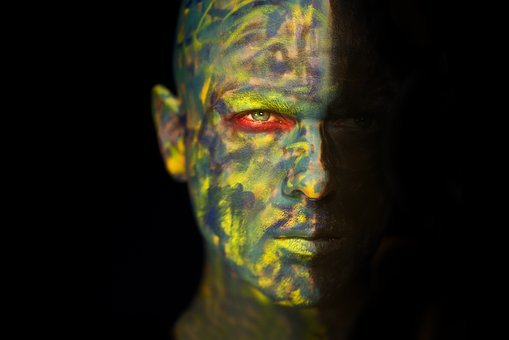 Fiction, Paint, Make-up, Green, Red, Camouflage, Model