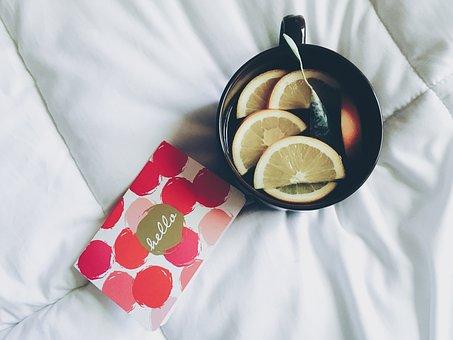 Black, Cup, Mug, Lemon, Fruit, Drink, Tea, White, Bed