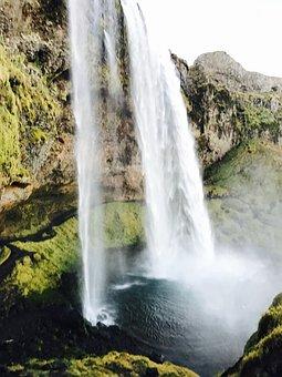 Waterfalls, Nature, Green, Grass, Moss, Mountain, Hill