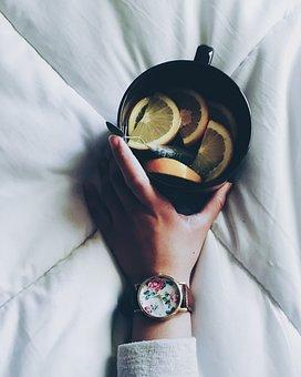 Hand, Black, Cup, Mug, Lemon, Fruit, Drink, Tea, White