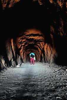 People, Man, Alone, Travel, Dark, Tunnel, Cave, Light