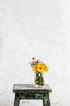 Wooden, Table, Yellow, Flower, Vase, Glass, Jar