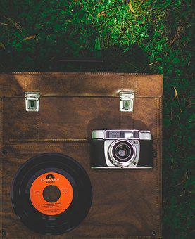 Record, Luggage, Camera, Old, Vintage, Well Traveled