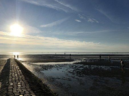 Watts, Wadden Sea, North Sea, Ebb, Schlick, Landscape