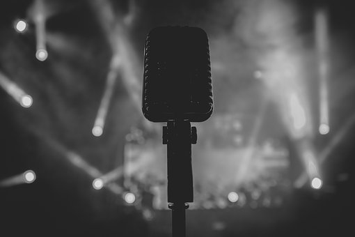 Black And White, Spotlight, Microphone, Concert, Stage