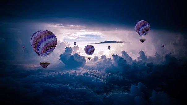 Hot Air Balloon, Blue, Sky, Dark