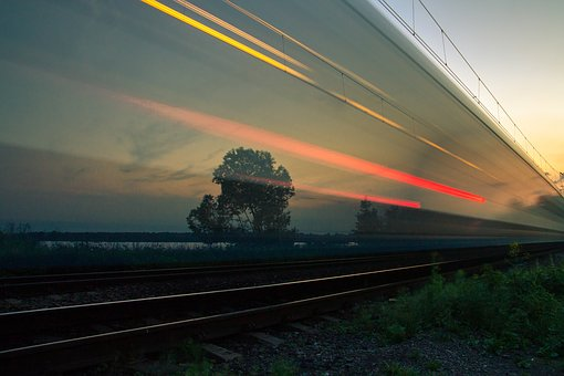 Dark, Light, Grass, Field, Nature, Railway, Track, Tree
