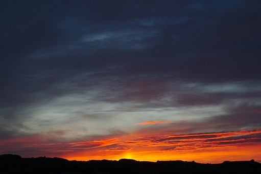Dark, Orange, Sunset, Sunrise, Sky, Clouds, Nature