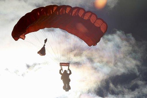 Parachute, Sky, Clouds, Dark, Silhouette, People, Man