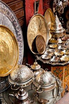 Brass, Metal, Gold, Display, Interior, Design, Teapot