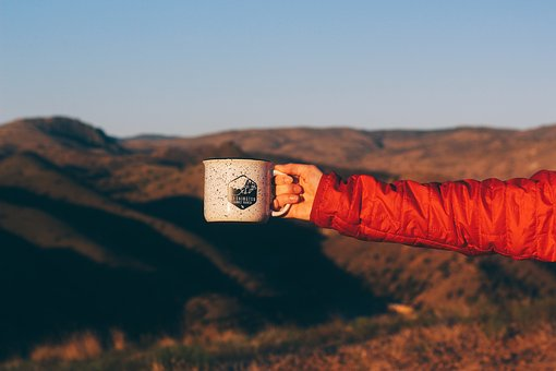 Mountain, Highland, Grass, Landscape, Arm, Hand, Cup